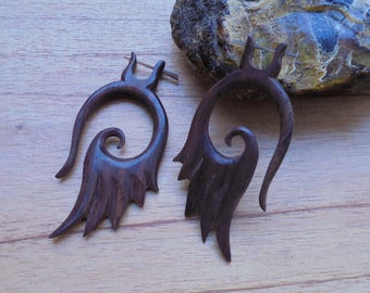 Wood Stick Post Earrings, Angel Wing Earrings, Wooden Accessories, Bali Jewelry, SP 07