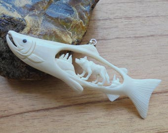 Hand Carved Salmon Wolf Bone Pendant Bali Bone Carving P332