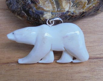 Polar Bear Pendant, Bone Carving,  Bali Bone Pendant  BR10NP