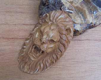 Lion Bone Pendant in Brown/Antique,  Bali Bone Carving  LN10NP