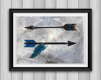 digital download, print, arrows, downloadable, Indian, wall decor, pen, watercolor, instant, living room, office