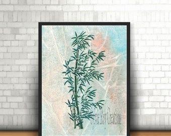 digital download, print, bamboo, wall decor, watercolor, instant, zen, bedroom, office, living room, download, image
