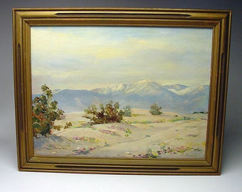 Listed California Plein Air artist Frederick Doyle Penney (1900-1988) desert painting signed Mountains