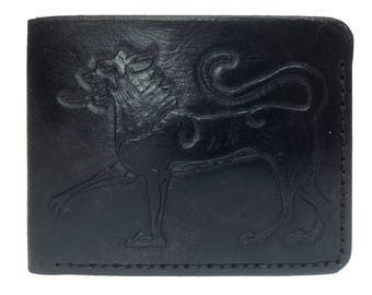 Black leather wallet, hand-tooled lions