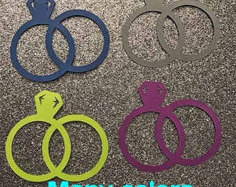 50 paper cut outs engagement ring/weddings bands - select color and size