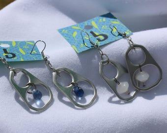 pull tab earrings with glass beads ( Handmade ) drop earrings