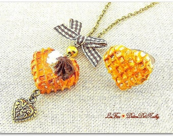 Necklace and ring waffle heart Cork
