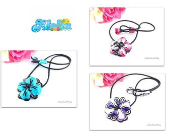 Necklaces creation flower pink, blue or purple hibiscus in the choice
