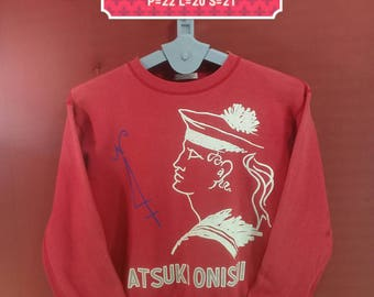 Vintage Atsuki Onishii Sweatshirt Spellout Shirts Red Colour Comme Des Garcons Supreme Sweatshirts