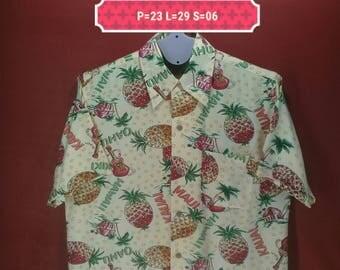 Vintage Hawaiian Shirt Boon Pal Shirt Floral Fullprint Shirt Yellow Multi Colour Size M Aloha Hawaiian Sun Surf Beach Shirts Pineapple Shirt