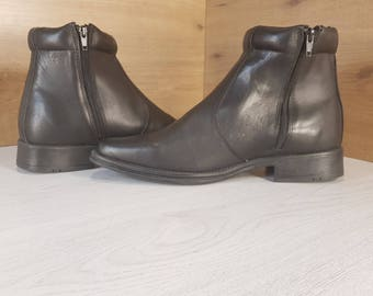 Vintage boots, Military boots, Officer boots, Black military boots, Mens leather boots, Mens leather zipper boots, Mens combat boots