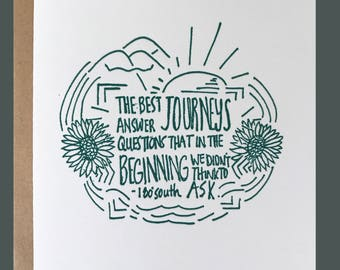 Letterpress greeting card / the best journeys...