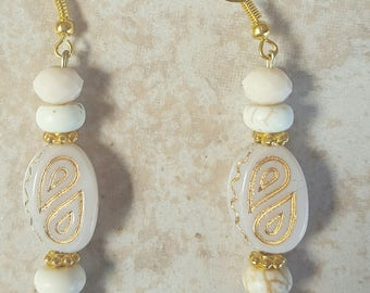 Cream Glass Beaded Earrings