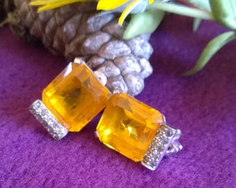 Clip on Vintage earrings Amber Crystal Stones with Rhine stones, Chrome Finish