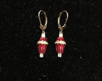 14K Diamond Red Enamel Earrings