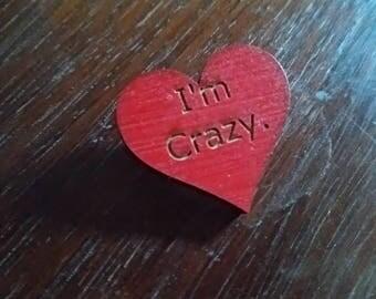 Engraved conversation heart pin