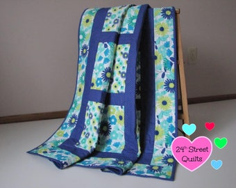 Baby Quilt, Baby Blanket, Crib Quilt | Blue Floral