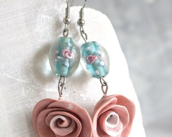 Earrings pink and blue porcelain cold