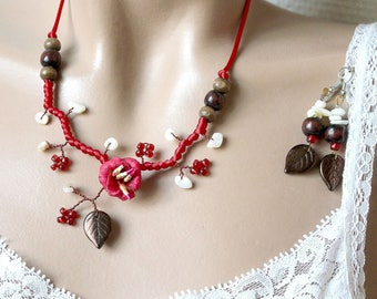 Red ornament flower cold porcelain