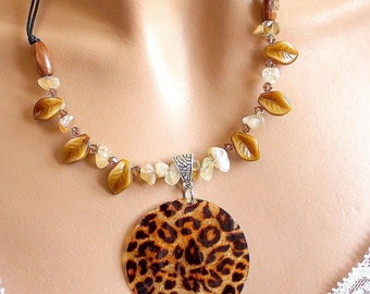 jungle leopard and citrine chips necklace