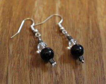 Quartz Crystal and Obsidian (Volcanic Glass) Earrings