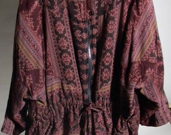 Boho reversible zip upIndonesian Ikat Cotton Drawstring Jacket