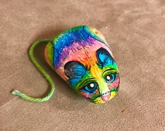 Lisa Frank Inspired Hand-Painted Rainbow Mouse Rock - Painted Mouse Stone