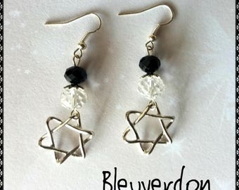 Black and transparent stars earrings