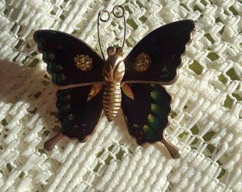 Colorful Enamel Butterfly Brooch.