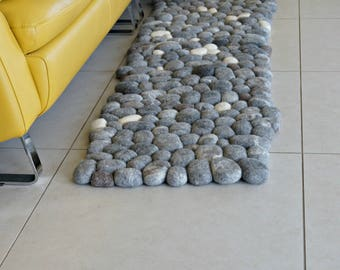 Felt Carpet Relief Carpet, Felt Stones Carpet for Living Room, River, Bedroom Floor Rug, Sheep Wool Pebbles Area Rug by Felt Interior Design