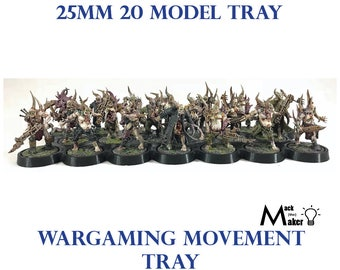 25mm 20 model movement tray warhammer  40K warhammer 40000 poxwalkers chaos Age of Sigmar Necrons cultists wargaming