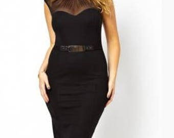 Curve Belted Midi Plus Size Dress with Ruched Mesh