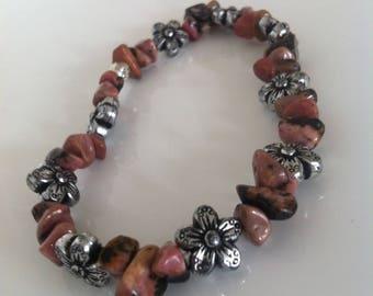 Gemstone Chip Floral Beaded Bracelet