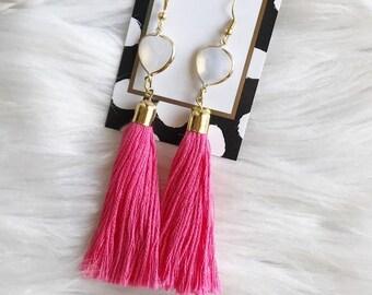 Handmade Gemstone and Tassel Earrings