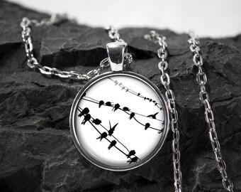 Bird Glass Pendant bird necklace bird jewelry photo pendant art pendant photo jewelry art jewelry silver glass jewelry