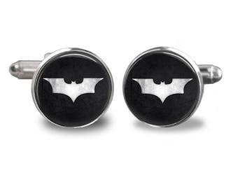 Batman cufflinks superhero cufflinks cufflinks comic book mens cufflinks glass cufflinks silver cufflinks