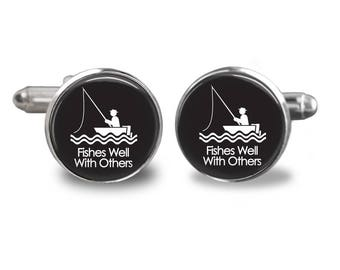Fishes well with others cufflinks fishing cufflinks fisherman cufflinks fish mens cufflinks glass cufflink silver cufflinks mens cuff links