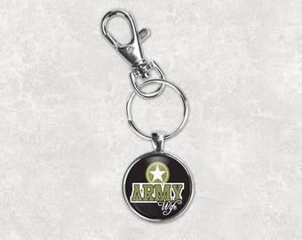 Army wife keychain military wife keychain army keychain wife gift wedding party gift mens keychain custom photo keychain