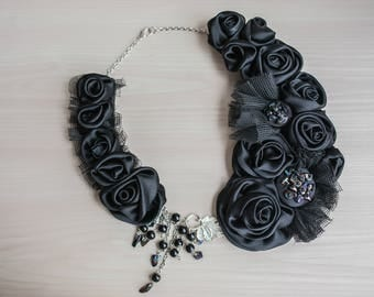 Ebony Black Statement Bib Necklace Collar Necklace Asymmetric Rosette Statement Necklace Fabric Necklace Textile Necklace Evening necklace