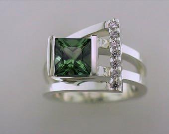 A-337 Green Tourmaline Ring
