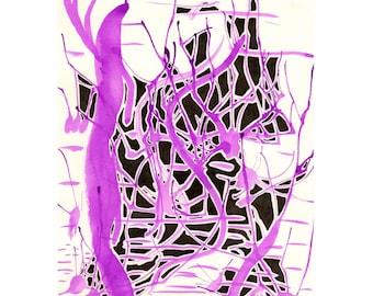 Purple Mess - A4 Original Pen and Ink Illustration