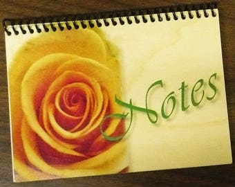Spiral bound Journal with printed wood cover - Yellow Rose