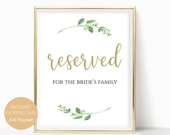 Reserved Printable Reserved Wedding Sign Reserved Table Sign Wedding Printable Wedding Template PDF Instant Download DIY 8x10, 5x7, 4x6
