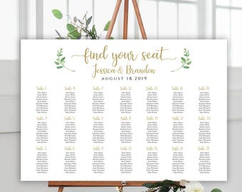 Printable Wedding Sign Seating Chart Sign Wedding Seating Chart Template Alphabetical Seating Chart Board Seating Plan Horizontal Seating