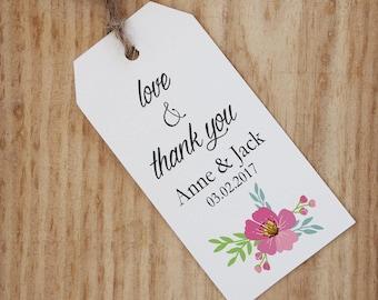 wedding favor tags printable custom favor tags rustic wedding favor tags vintage floral design , digital download