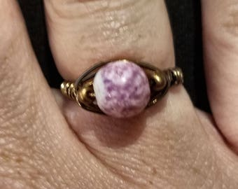 Copper and glass ring