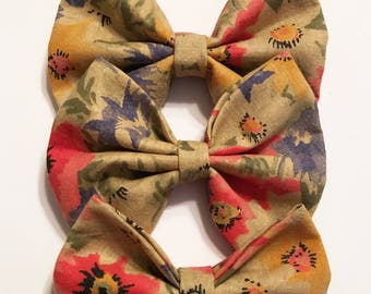 Red Blue and Yellow Flower baby headband