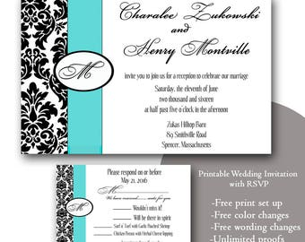 Damask Wedding Invitation/Teal Wedding/ANY COLOR/ printable Wedding Invitation with RSVP/template download