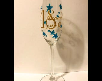 18 Prosecco Queen hand painted champeign flute