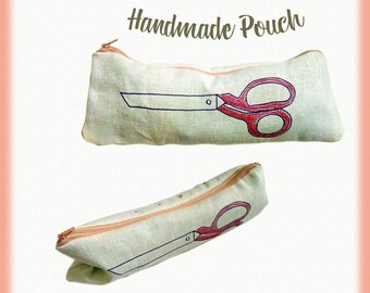 Handmade pouch, Linen pouch, Scissors  pouch, Toiletry bag, Make up bag, Cosmetics bag, Zipper pouch, Hand drawn pouch, Gift for her